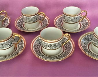 Vintage L. Bernardaud and Co Limoges Demitasse Espresso Cup & Saucer Set 12 Pieces