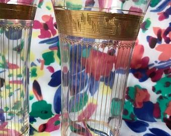Retro bar ware - gold trim tumblers