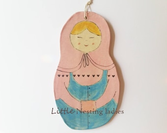 Pottery art doll, wall decor doll, Nesting doll in pink and blue apron
