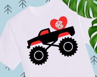Boy Valentine SVG Valentine Truck Svg Monogram frame svg Valentines Day svg Valentine Shirts for Boys svg files for cricut Silhouette Cameo