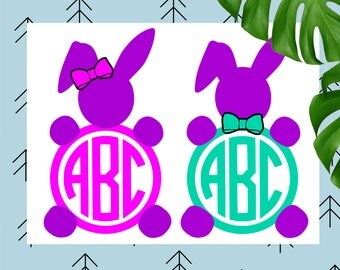 Easter svg Easter bunny monogram svg Bunny monogram svg ears svg happy easter svg file for Cricut Silhouette easter cut file dxf eps