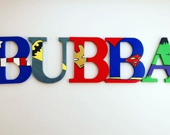 Hand painted superhero name letters