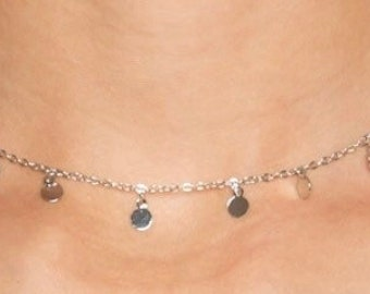 silver dangle coin choker