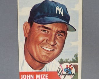 Vintage 1953 Topps #77 John Mize, New York Yankees Baseball Card, EX, Gift for Him, Collectible Card