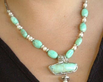 Wonderful Chrysoprase, Pearl and Sterling Silver Necklace P96