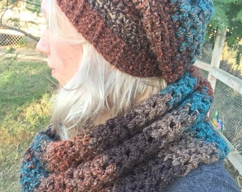 Slouchy beanie and scarf set