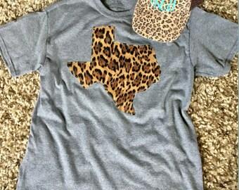TEXAS T-SHIRT, Cheetah Shirt, Leopard Texas, applique
