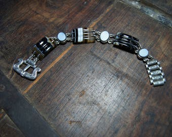 Scottish Sterling Silver and Banded Agate Bracelet