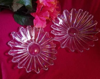 Iridescent Clear carnival glass plates