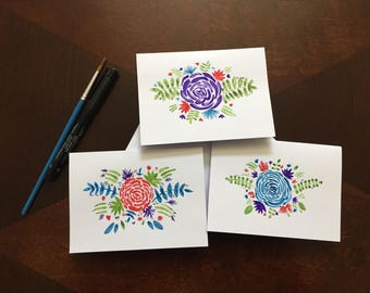 Stationary cards, watercolor painted, blank inside, set of 3, includes envelopes