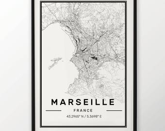 Marseille City Map Print Modern Contemporary poster in sizes 50x70 fit for Ikea frame 19.5 x 27.5 All city available London, New York Paris