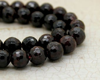 Garnet Round Faceted Gemstone Beads (4mm 6mm 7mm 8mm 9mm 12mm)