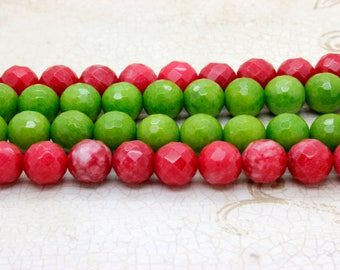Dye Jade Faceted Round Gemstone Beads 12 mm (Hot Pink Green- Full Strand)