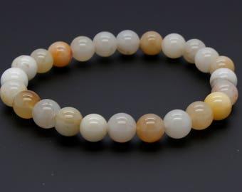 "Carnelian Beads Size 8mm. Length 8"" Semi-Precious Gemstone Elastic Cord Bracelet Accessories"
