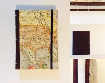 North America A5 Travel Journal, Notebook, Sketch Pad Hand Made