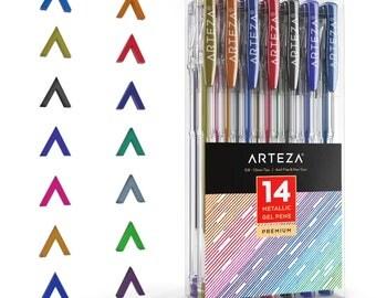 Arteza Metallic Gel Pens 14-Individual-Colors