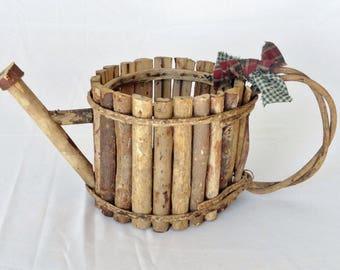 Vintage Watering Can Wooden Basket