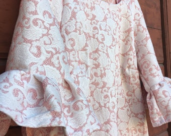 Sheath dress in brocade damask pink and white designs.