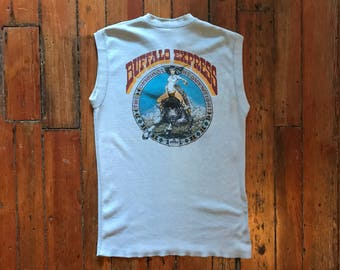Vintage Small Buffalo Express Ribbed Sleeveless T-Shirt