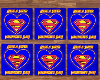 Superman Valentineu0027s Day Cards   Superman School Valentines   Red U0026 Blue  Logo   Superman Party