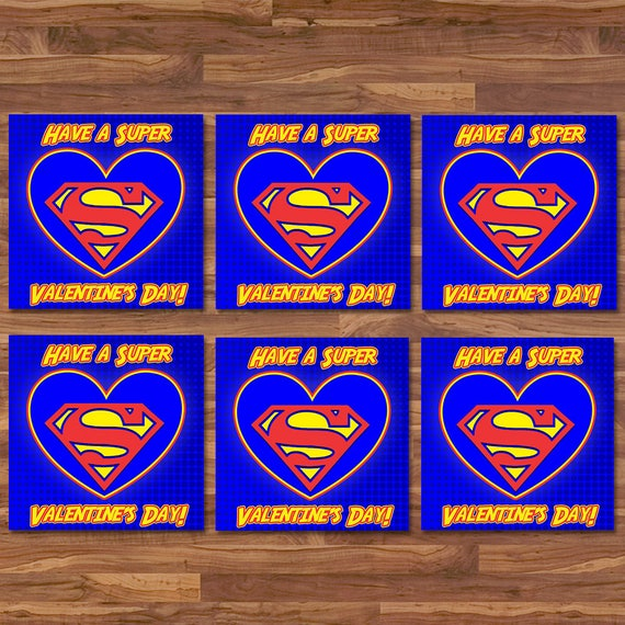 Superman Valentine's Day Cards - Superman School Valentines - Red & Blue Logo - Superman Party Printables - Superhero Valentine's Day Cards