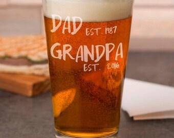 Pregnancy Reveal To Grandpa - Grandpa Est. Pint Glass - Gift for Grandpa - Baby Reveal Ideas - New Grandpa Gifts - Baby Announcement