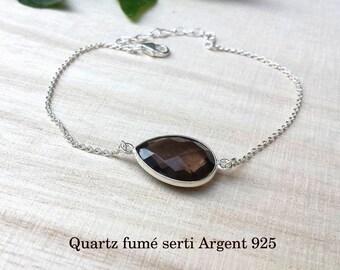 Genuine smoky Quartz set on Silver 925 silver bracelet
