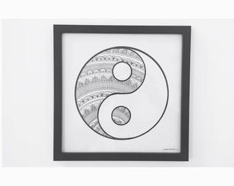 Y I N Y A N G || Zentangle patterened yin-yang