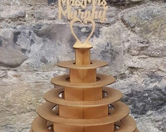 Gold Round Wooden Ferrero Rocher Chocolate Tower Stand for Weddings
