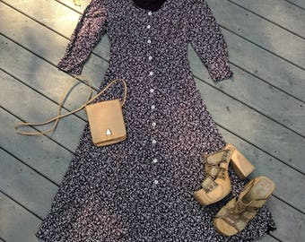 Vintage 90's Floral Button-Up Maxi Dress || 3/4 Sleeve Ankle Length Dress, S/XS