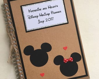 Personalised Disney Notebook Planner Mickey Mouse Disneyworld Holiday Hand Made