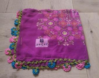 10 percent OFF FREE Shipping, Traditional Turkish Oya, Multicolored Scarf, Tığ Oya, Turkish lace 7