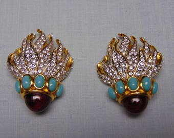 Elizabeth Taylor Eternal Flame Collection Clip Earrings 80's Fashion For Cruises, Holidays, Proms, Kentucky Derby And Entertainers