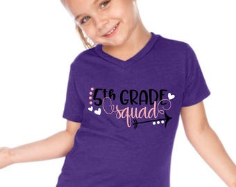 5th Fifth Grade Squad First Back to School Boy T-Shirt Tee Shirt First Day Girl Heart Pink