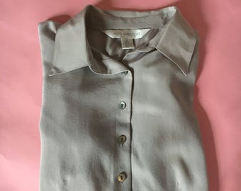 Vintage silk button up petite blouse