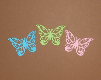 """Intricate Butterfly Die Cuts 1 1/2"""" x 1 3/8"""" Blue, Green & Pink Cardstock Paper Butterfly Embellishments, Scrapbooking, Card Making 18 pc"""