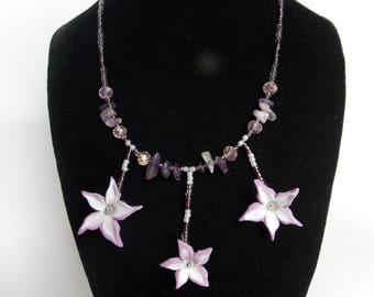 Handmade Polymer Clay Necklace and earrings with purple flowers and amethyst chips, Unique jewelry, Romantic gift for her, Gift for Women