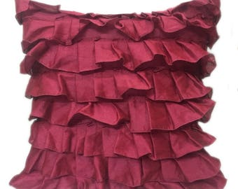 Ruby Red Pillow Cover, Minimalist Pillow, Ruffles Pillow, Modern Pillow Covers