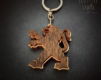 Peugeot car keychain with logo made of wood - Laser Cut Wooden Keychain for men and women cool car key ring peugeot gift idea porte clé