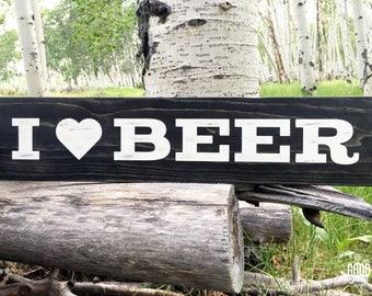 I Heart Beer, Rustic Wood Sign, Bar Decor