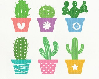 Cactus SVG Files, Cactus dxf, png, eps, Silhouette Studio, Cutting File