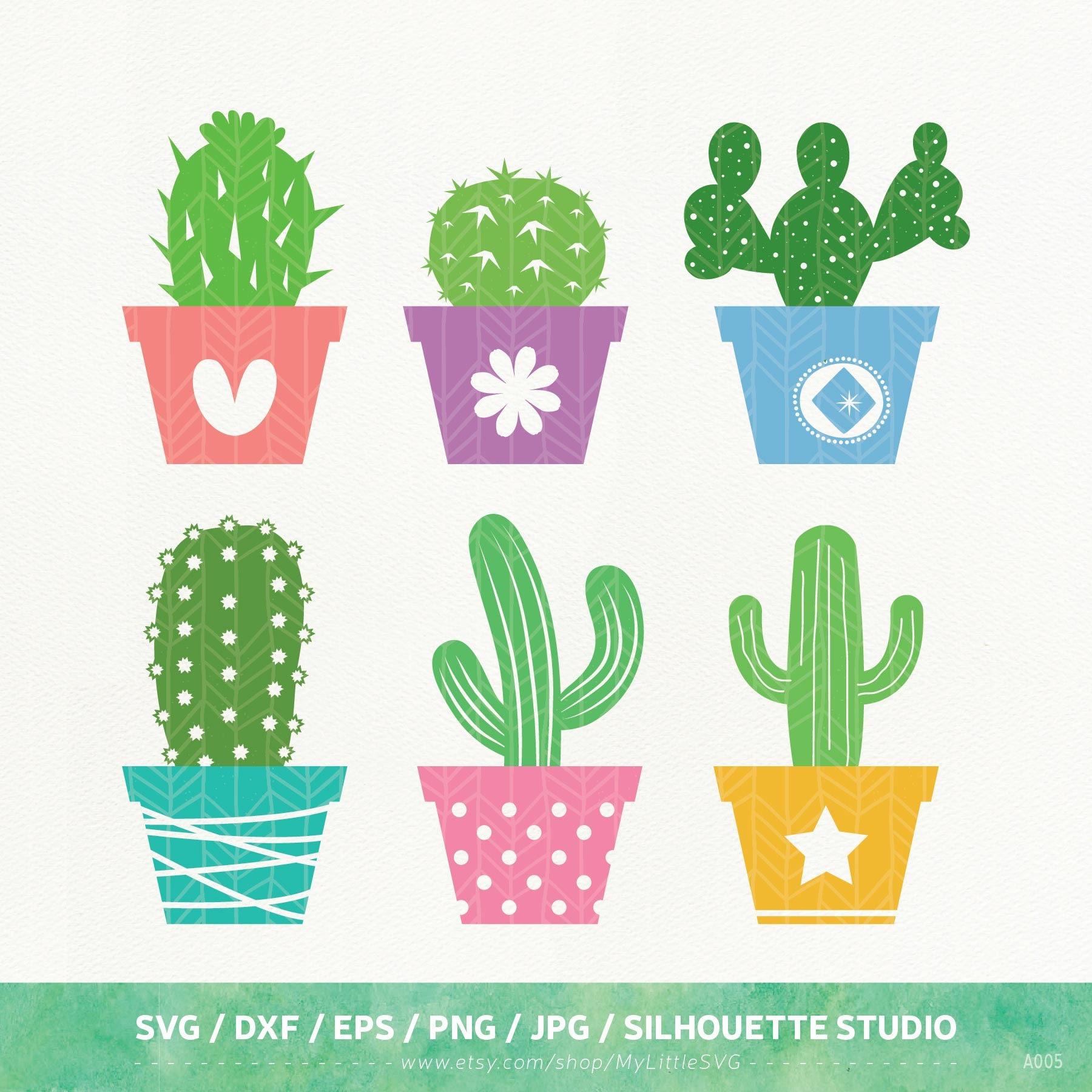 Cactus Svg Files Cactus Dxf Png Eps Silhouette Studio