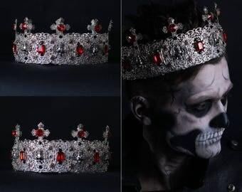 High Silver crown, Mens silver crown, Zombie Boy, Silver Gothic Crown Gothic Tiara Evil Queen Tiara Filigree Crown Black Crown