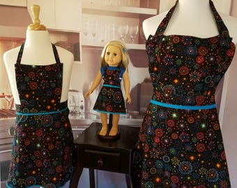 Mother Daughter Doll Matching Sparkler Aprons
