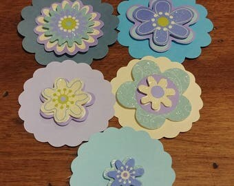 Lot of 5 3D Flower Thank You Tags Blues