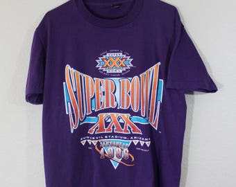 Vintage 90s NFL Single Stitch Super Bowl XXX T-Shirt // Best Fruit of the Loom // Men's L Made in Usa