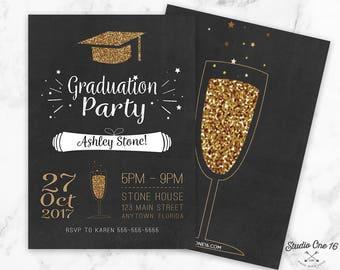Graduation invitations etsy graduation party invitation chalkboard graduation invitation class of 2017 graduation invitation graduation picture stopboris Gallery