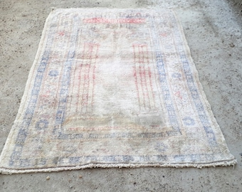 Floss Silk Rug Vintage Rug Turkish Handknotted Rug