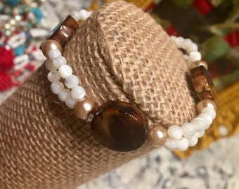 Brown tone stone with white accent beads