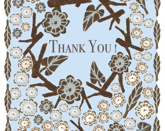 Card A5, folded, thank you card, block print, instant download, Printout, floral